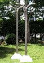横幅60センチのスリム型アルミ物干し台iPTシャンパンゴールド色(左右2個=1セット分) +ベース付きセット