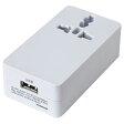 YAZAWA ヤザワ 海外用マルチ変換プラグ USB付2A 白 HPM42AWH