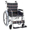 アルミ製ハンドブレーキ車椅子(自走式) 背折れタイプ セレクト50 KS50-3838GC グリーンチェック