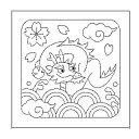 オリムパス製絲 1袋3枚単位 花ふきん布パック「辰と青海波 白」 H-1009