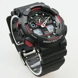 CASIO G-SHOCK ジーショック カシオ アナデジ腕時計 ブラック×レッド ウレタンベルト GA-100-1A4