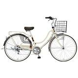MARUKIN26型 自転車 フロートミックス266-G ベージュ/6段変速 MK-14-061 MK14061