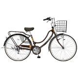 MARUKIN26型 自転車 フロートミックス266-G ダークブラウン/6段変速 MK-14-061 MK14061