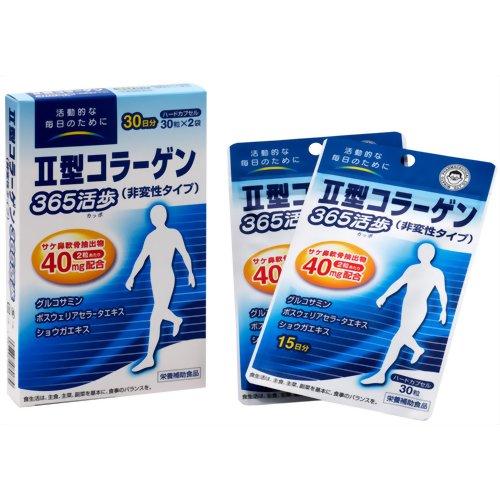 II型コラーゲン 365活歩・箱タイプ 30粒×2袋