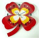 木製掛時計 よつ葉のクローバーの画像