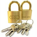 SOL HARD ソールハード シリンダー錠 40mm 同一鍵 2個セット No.2500