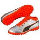 PUMA プーマ ONE 4 Syn TT Jr 23.5 Silver-Shocking Orange-Puma Black 104785