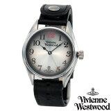 Vivienne Westwood メンズ腕時計 シルバーダイアル ブラックレザーベルト VV012BK