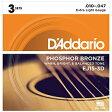 (弦×6セット) ダダリオ D'Addario EJ15-3D  フォスファーブロンズ Extra Light