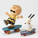 PEANUTS DESIGNS BY JIM SHORE フィギュア スヌーピー&チャーリーブラウン Skateboarding Buddies
