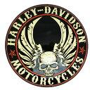 エンボスメタルサイン H-D Flying Skull Button