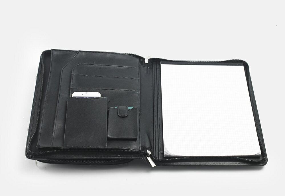 高級パッドフォリオ オーガナイザー ハンドル・フリーポケット付き A4用紙サイズ