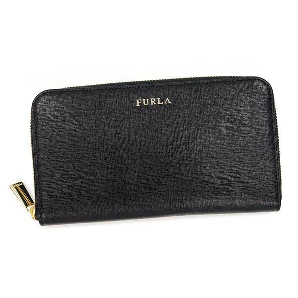 FURLA 871019 ONYX BABYLONフルラ ラウンドファスナー長財布レザー(ラミネート加工牛床革)ブラック×ゴールド