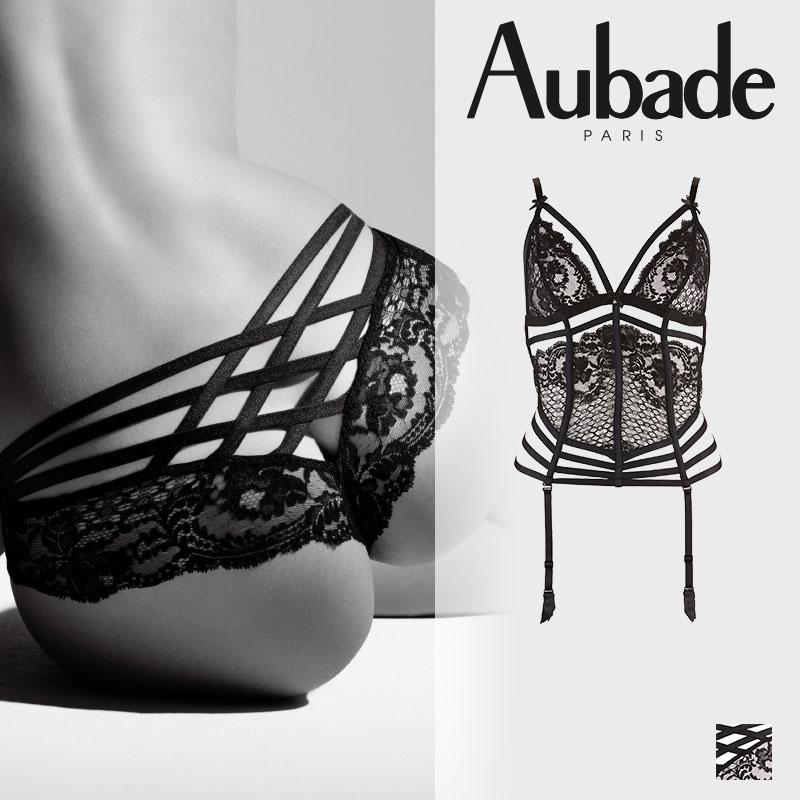 【30%オフ】フランス【Aubade】オーバドゥENTREVUE SECRETE(アントレヴ シークレット)Black(ブラック)カラー スリーインワン(DE92)