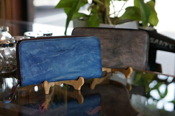 福山レザー ラウンドファスナー長財布 ポッシュ ファスナー付き小銭入れ 男女兼用 長サイフ メンズ レディース 紳士用 男性用 女性用 青色 ブルー 革製品