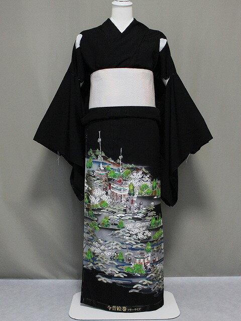 正絹江戸褄(黒留袖) 箔使い柄の江戸褄・未仕立品 今昔絵巻柄 在庫処分です F67
