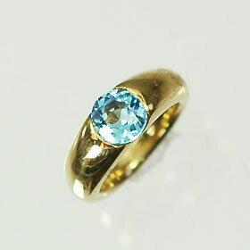 【11月の誕生石】K18・ブルートパーズ 誕生石ベビーリング(指輪) 一粒タイプ  送料無料