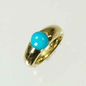 【12月の誕生石】K18・トルコ石 誕生石ベビーリング(指輪) 一粒タイプ  送料無料