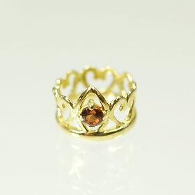 【1月の誕生石】K18・ガーネット 誕生石ベビーリング(指輪) プリンセスタイプ  送料無料