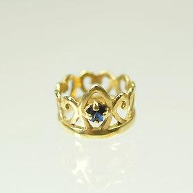 【9月の誕生石】K18・サファイア 誕生石ベビーリング(指輪) プリンセスタイプ  送料無料