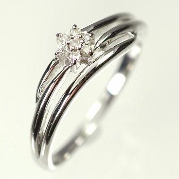 大人もOK ダイヤモンド リングK18WG・ダイヤモンド0.06ct ミニフラワーリング(指輪) ダイヤモンド指輪