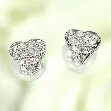 ダイヤモンド ピアス K18WG・ダイヤモンド0.12ct ハートパヴェピアス