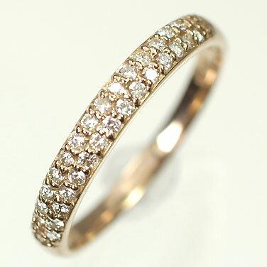 ダイヤモンド リング ピンクゴールド K18PG・ダイヤモンド0.2ct パヴェリング(指輪) ダイヤモンド指輪