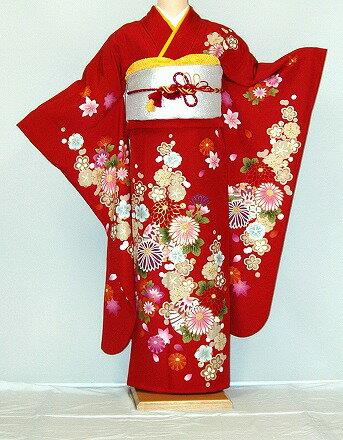 振袖・レンタル【赤・ピンク・赤紫系】【RS761】標準/L寸/7号/9号/11号/13号