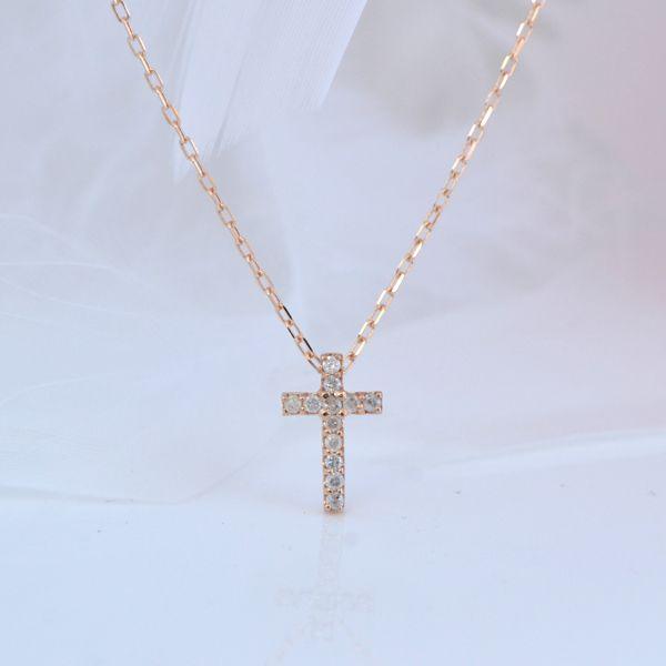 K10PG クロス 十字架 ダイヤモンド プチネックレス 彼女  誕生日  ジュエリー アクセサリー ∞