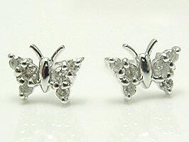 K18WG(ホワイトゴールド)蝶がキュートなダイヤモンド0.16ctピアス[送料無料]【ジュエリー  誕生日プレゼント】 彼女  誕生日 プレゼント ジュエリー アクセサリー