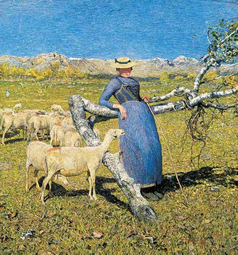 油絵 ジョヴァンニ・セガンティーニ アルプスの真昼  F12サイズ F12号  606x500mm 油彩画 絵画 複製画 選べる額縁 選べるサイズ
