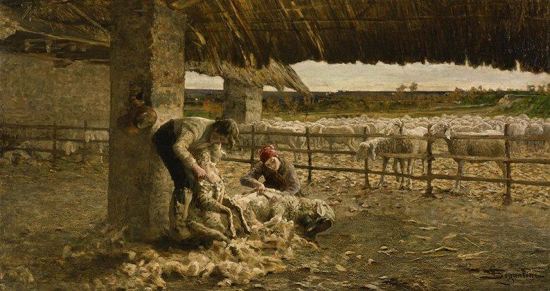 油絵 ジョヴァンニ・セガンティーニ 羊の剪毛  F12サイズ F12号  606x500mm 油彩画 絵画 複製画 選べる額縁 選べるサイズ