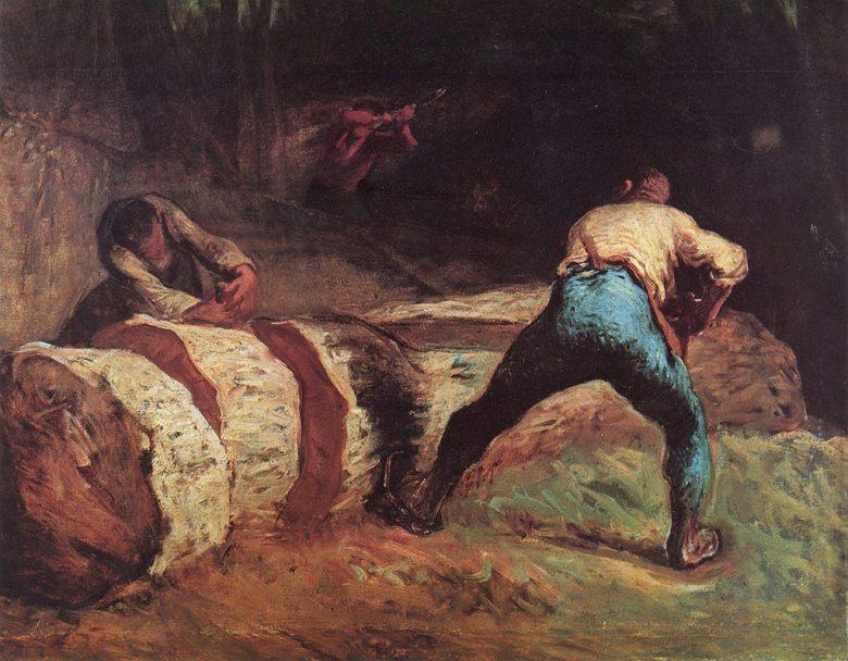 油絵 ジャン=フランソワ・ミレー 木を挽く人  F12サイズ F12号  606x500mm 油彩画 絵画 複製画 選べる額縁 選べるサイズ
