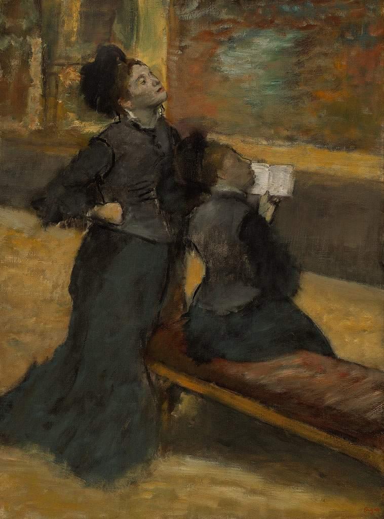 油絵 エドガー・ドガ 美術館訪問  P12サイズ P12号  606x455mm 油彩画 絵画 複製画 選べる額縁 選べるサイズ