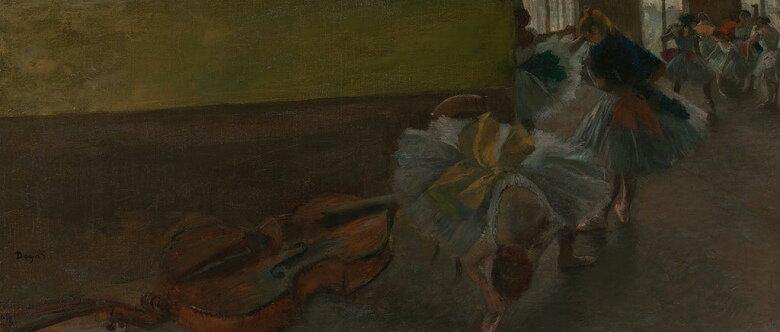 油絵 エドガー・ドガ リハーサル室のコントラバスと踊り子  F12サイズ F12号  606x500mm 油彩画 絵画 複製画 選べる額縁 選べるサイズ