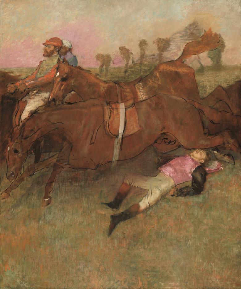 油絵 エドガー・ドガ 障害競馬(落馬した騎手)  F12サイズ F12号  606x500mm 油彩画 絵画 複製画 選べる額縁 選べるサイズ