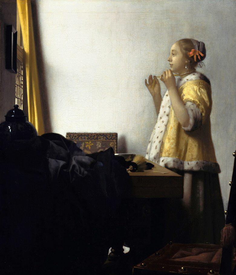 油絵  ヨハネス・フェルメール 真珠の首飾りの女  F12サイズ F12号  606x500mm 油彩画 絵画 複製画 選べる額縁 選べるサイズ