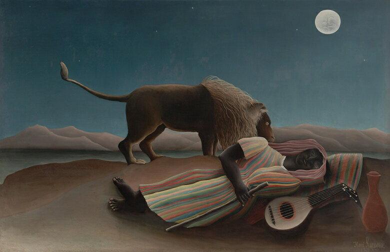 油絵 アンリ・ルソー 眠るジプシー女  M12サイズ M12号  606x410mm 油彩画 絵画 複製画 選べる額縁 選べるサイズ