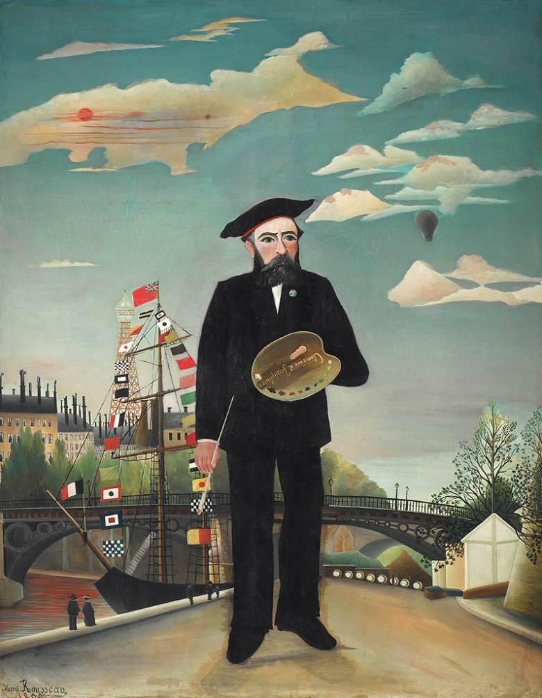 油絵 アンリ・ルソー 私自身:肖像=風景  F12サイズ F12号  606x500mm 油彩画 絵画 複製画 選べる額縁 選べるサイズ