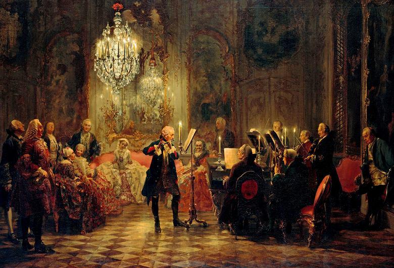 油絵 アドルフ・メンツェル フリードリヒ大王のフルートコンサート  P12サイズ P12号  606x455mm 油彩画 絵画 複製画 選べる額縁 選べるサイズ