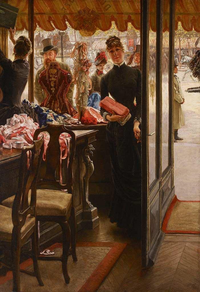 油絵 ジェームズ・ティソ 店の女性  P12サイズ P12号  606x455mm 油彩画 絵画 複製画 選べる額縁 選べるサイズ