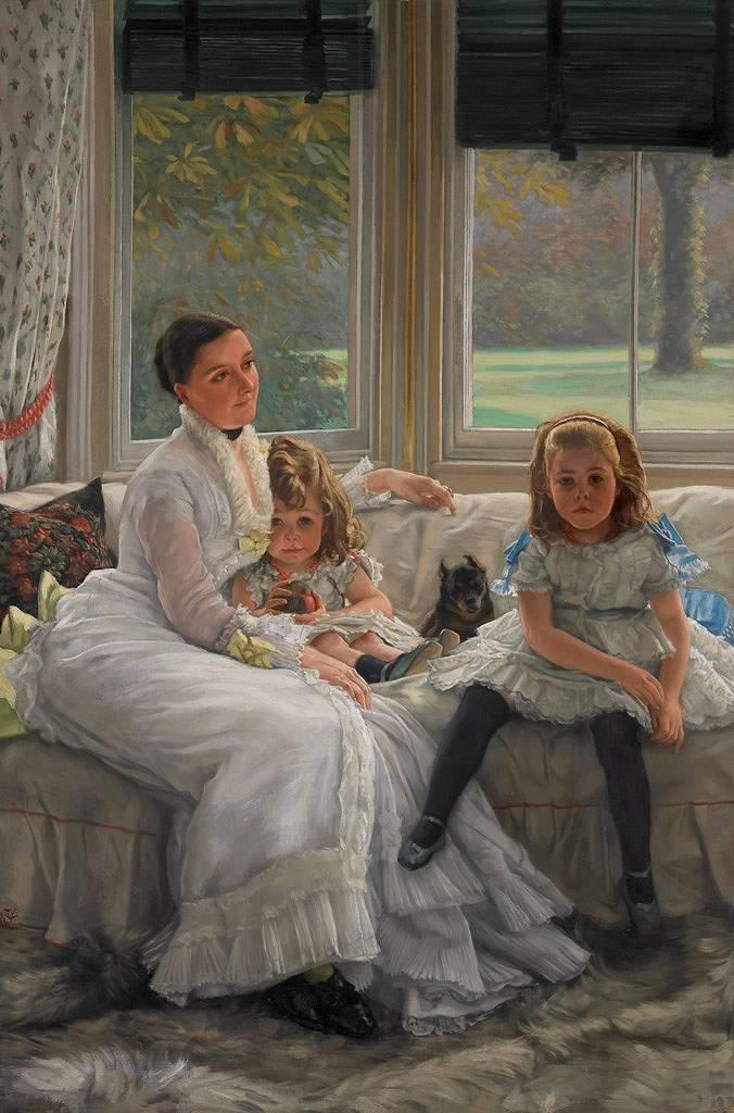 絵画 インテリア 額入り 壁掛け 油絵 ジェームズ・ティソ キャサリン・スミス・ジル夫人と二人の子供たち  M15サイズ M15号  652x455mm 油彩画 複製画 選べる額縁 選べるサイズ