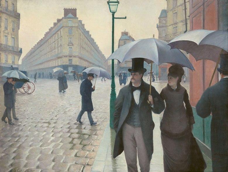 油絵 ギュスターヴ・カイユボット パリの通り、雨  P12サイズ P12号  606x455mm 油彩画 絵画 複製画 選べる額縁 選べるサイズ