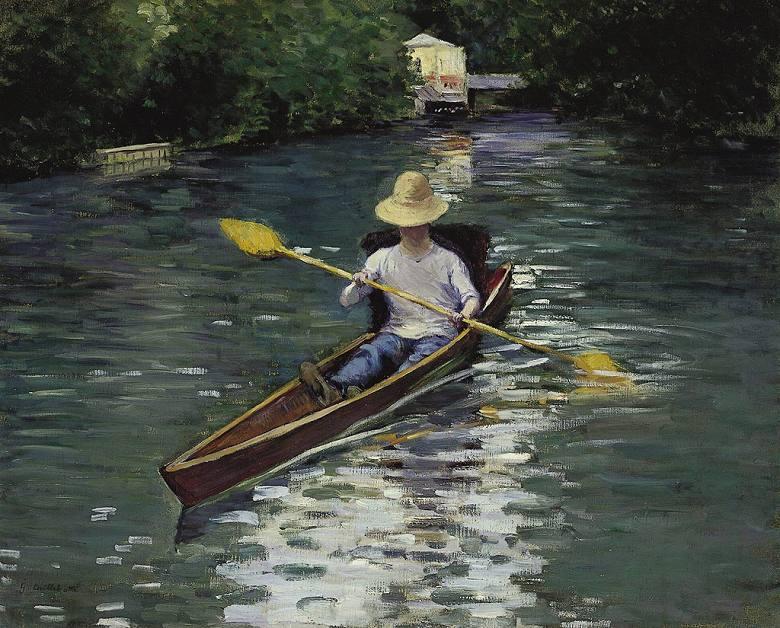 油絵 ギュスターヴ・カイユボット イエール川のカヌー  F12サイズ F12号  606x500mm 油彩画 絵画 複製画 選べる額縁 選べるサイズ