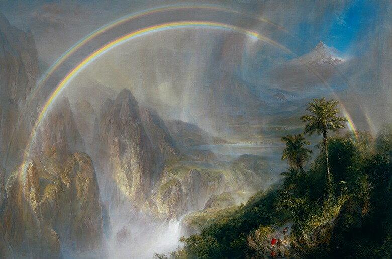 油絵 油彩画 絵画 複製画  フレデリック・エドウィン・チャーチ 熱帯地方の雨季  M10サイズ M10号  530x333mm すぐに飾れる豪華額縁付きキャンバス