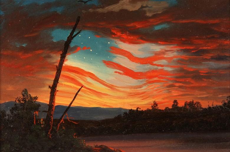 油絵 油彩画 絵画 複製画  フレデリック・エドウィン・チャーチ 空の星条旗  M10サイズ M10号  530x333mm すぐに飾れる豪華額縁付きキャンバス