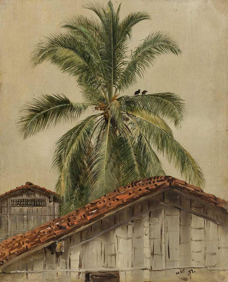 油絵 油彩画 絵画 複製画  フレデリック・エドウィン・チャーチ ヤシの木と屋根、エクアドル  F10サイズ F10号  530x455mm すぐに飾れる豪華額縁付きキャンバス
