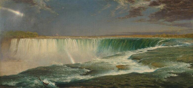 油絵 油彩画 絵画 複製画  フレデリック・エドウィン・チャーチ ナイアガラの滝  F10サイズ F10号  530x455mm すぐに飾れる豪華額縁付きキャンバス
