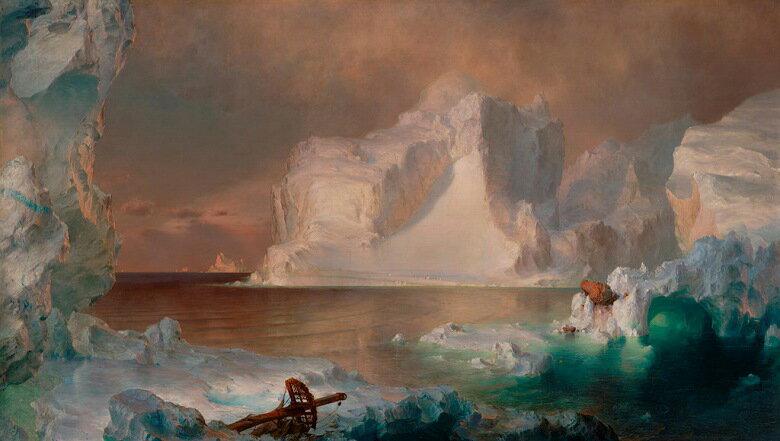 油絵 油彩画 絵画 複製画  フレデリック・エドウィン・チャーチ 氷山  F10サイズ F10号  530x455mm すぐに飾れる豪華額縁付きキャンバス