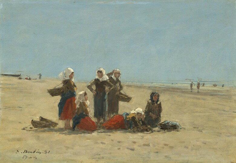 油絵 ウジェーヌ・ブーダン ベルクの浜辺の女性たち  P12サイズ P12号  606x455mm 油彩画 絵画 複製画 選べる額縁 選べるサイズ